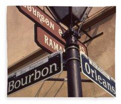 New Orleans Street Signs Fleece Blanket