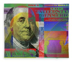 New Pop-colorized One Hundred Us Dollar Bill Fleece Blanket