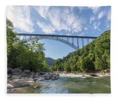 New River Gorge Bridge Over The New River Fleece Blanket