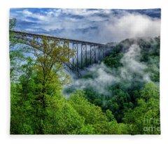 New River Gorge Bridge Morning  Fleece Blanket