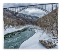 New River Gorge Bridge Snow Fleece Blanket