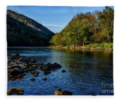 New River In Morning Light Fleece Blanket