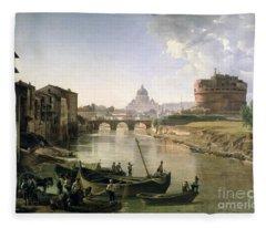 New Rome With The Castel Sant Angelo Fleece Blanket