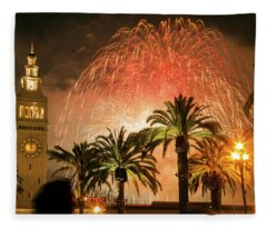 New Years Fireworks Finale San Francisco Fleece Blanket