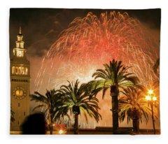 New Years Fireworks Finale San Francisco Fleece Blanket