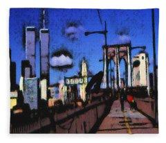 New York Blue - Modern Art Painting Fleece Blanket