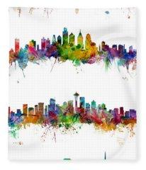 New York, Philadelphia, Seattle And San Francisco Skylines Fleece Blanket