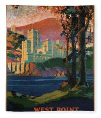 New York Central Lines - West Point - Retro Travel Poster - Vintage Poster Fleece Blanket