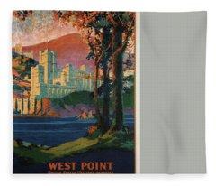 New York Central Lines - West Point - Retro Travel Poster - Vintage Poster Fleece Blanket
