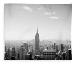 New York City - Empire State Building Panorama Black And White Fleece Blanket
