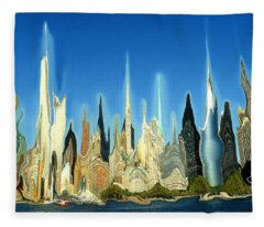 New York City Skyline 2100 - Modern Artwork Fleece Blanket