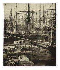 New York City Docks - 1800s Fleece Blanket