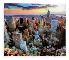 New York City Downtown Manhattan Fleece Blanket