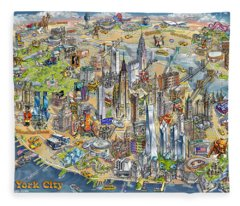 New York City Illustrated Map Fleece Blanket