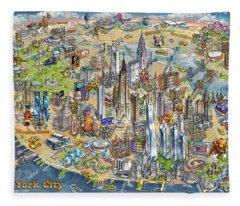 New York City Illustrated Map Fleece Blanket