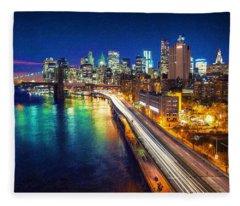 New York City Lights Blue Fleece Blanket