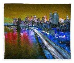 New York City Lights Gold Fleece Blanket