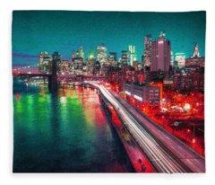 New York City Lights Red Fleece Blanket