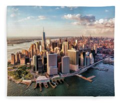 New York City Manhattan Aerial Skyline Fleece Blanket