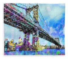 New York City Manhattan Bridge Blue Fleece Blanket