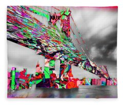 New York City Manhattan Bridge Pure Pop Red Fleece Blanket