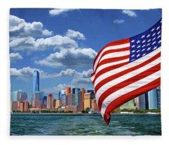 New York City Manhattan Skyline Ferry Flag Fleece Blanket