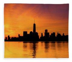 New York City Manhattan Sunrise Skyline Fleece Blanket