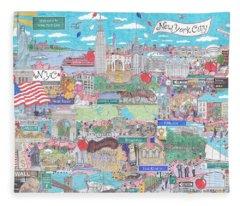 New York City On A Sunny Day Fleece Blanket