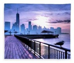 New York City Skyline Jersey City View Fleece Blanket
