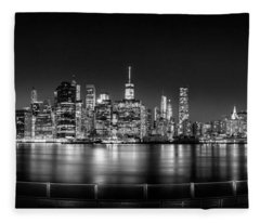New York City Skyline Panorama At Night Bw Fleece Blanket