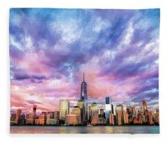 New York City Skyline Sunset Fleece Blanket