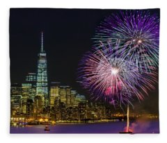 New York City Summer Fireworks Fleece Blanket