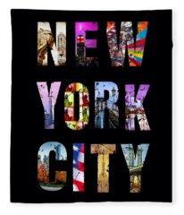 New York City Text On Black Fleece Blanket