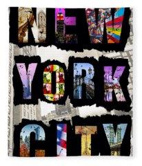 New York City Text Fleece Blanket