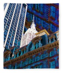 New York City Up Is Down Down Is Up Blue Fleece Blanket