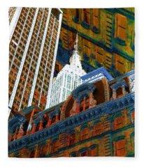 New York City Up Is Down Down Is Up Orange Fleece Blanket