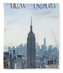 New York Classic View With Text Fleece Blanket