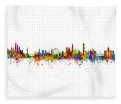 New York, London And Hong Kong Skyline Mashup Fleece Blanket