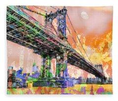 New York City Manhattan Bridge Gold Fleece Blanket
