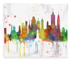 New York Ny Skyline Fleece Blanket