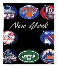 New York Professional Sport Teams Collage  Fleece Blanket
