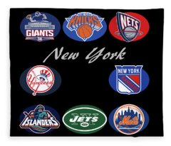New York Professional Sport Teams Collage  Fleece Blanket