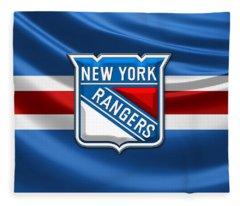 New York Rangers - 3d Badge Over Flag Fleece Blanket