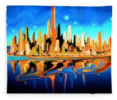 New York Skyline Blue Orange - Modern Art Fleece Blanket