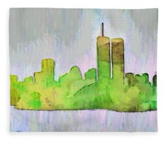 New York Skyline Old Shapes 2 - Da Fleece Blanket