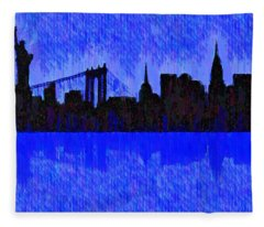 New York Skyline Silhouette Blue - Da Fleece Blanket