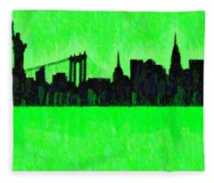 New York Skyline Silhouette Green - Da Fleece Blanket