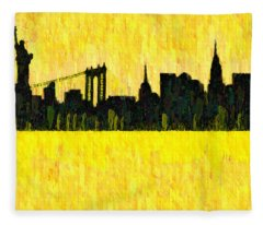 New York Skyline Silhouette Orange - Da Fleece Blanket