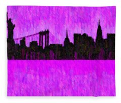 New York Skyline Silhouette Purple - Da Fleece Blanket