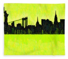 New York Skyline Silhouette Yellow-green - Da Fleece Blanket
